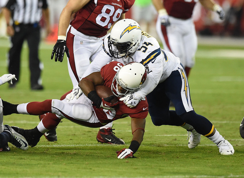. Running back Andre Ellington #38 of the Arizona Cardinals is tackled by outside linebacker Melvin Ingram #54 of the San Diego Chargers in the first quarter of the NFL game at University of Phoenix Stadium on September 8, 2014 in Glendale, Arizona.  (Photo by Norm Hall/Getty Images)