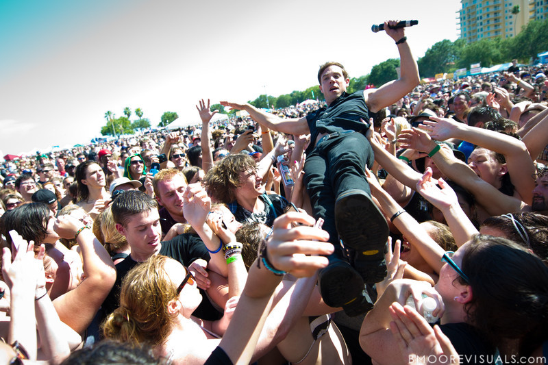 Mikel Jollett of The Airborne Toxic Event crowdsurfs on May 28, 2011 at Vinoy Park in St. Petersburg, Florida