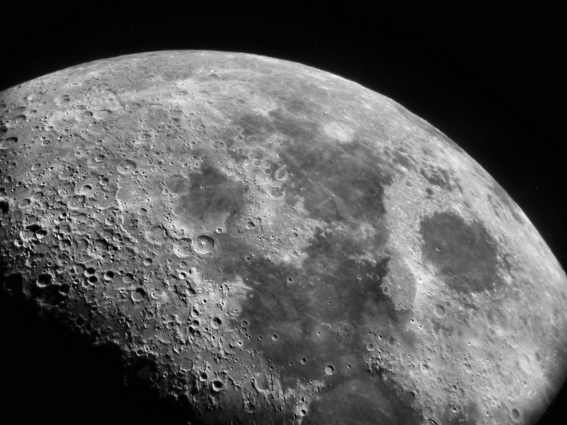 Moon at Mingo taken by a visitor Ben G Spicer. It is the first image taken by a guest and e-mailed to him. Friday June 18, 2010 first quarter moon. 10 inch f-12 refractor.
