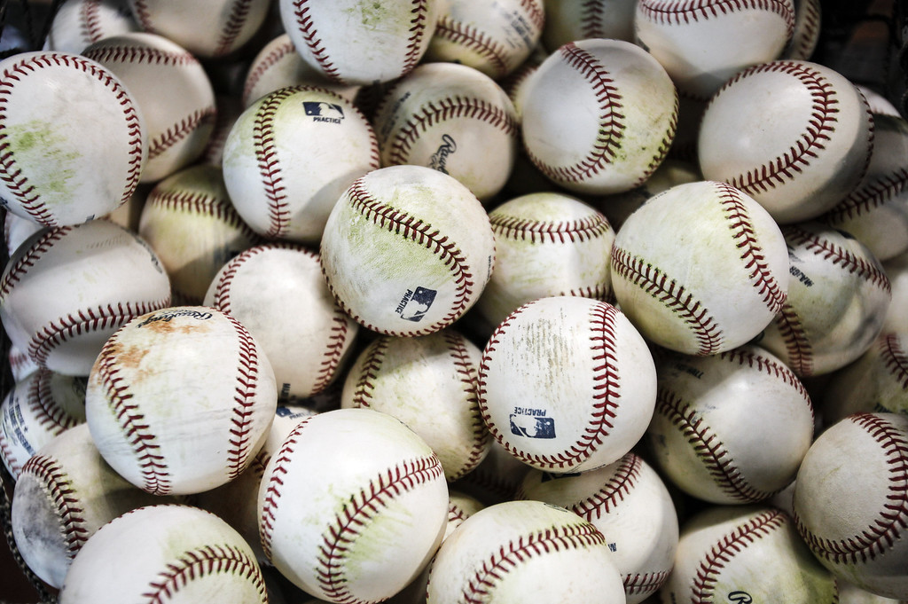 . A bucket of baseballs for batting practice is seen before the Texas Rangers play the Houston Astros on Opening Day at Minute Maid Park on March 31, 2013 in Houston, Texas.  (Photo by Bob Levey/Getty Images)