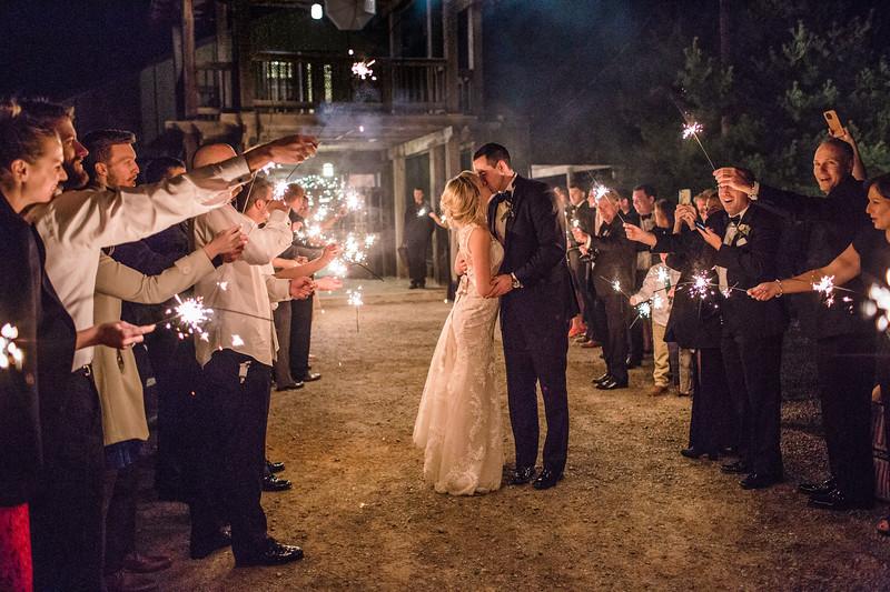 Sparkler exit at Meg and Kyle's Bluemont Vineyard wedding. Photos by the best Washington DC wedding photographer Jalapeno Photography.