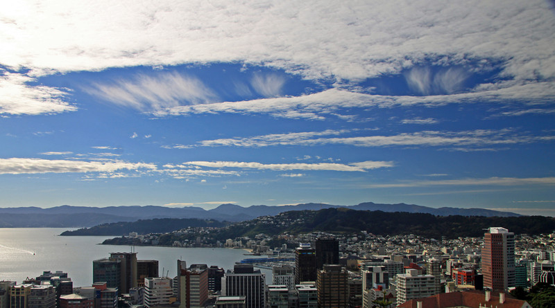 Hole punch clouds, or fallstreak holes, in Altostratus over Wellington - 29 February 2012.