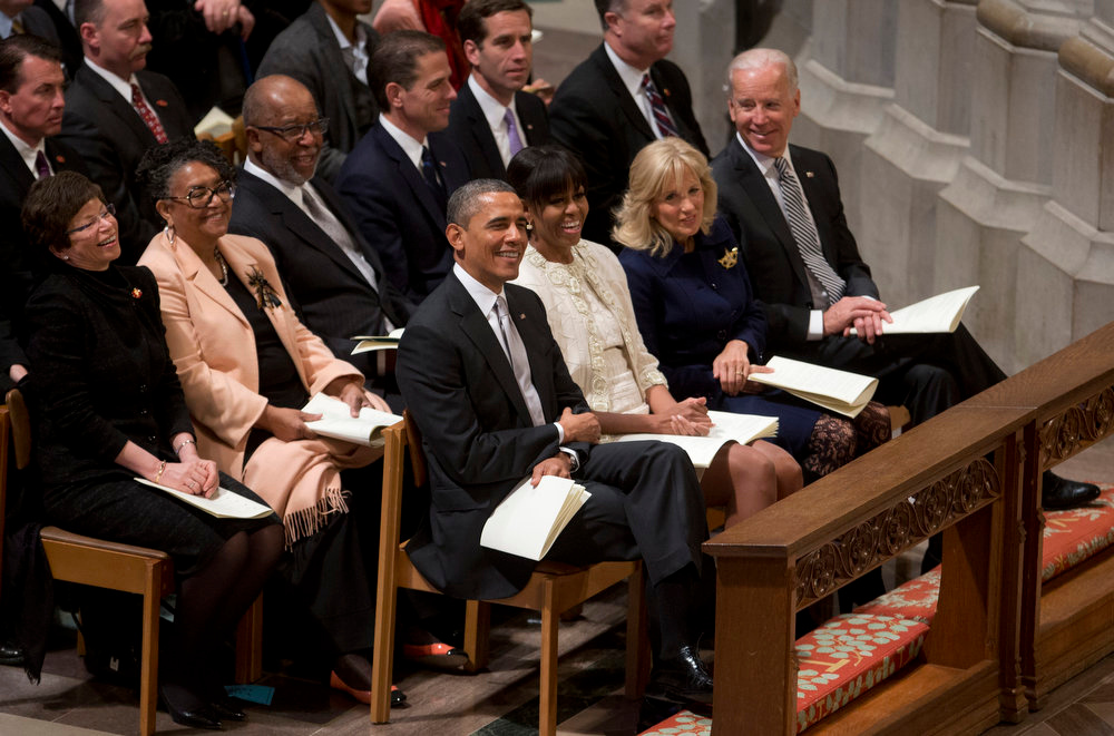 . President Barack Obama, first lady Michelle Obama, Vice President Joe Biden and his wife Jill Biden attend the Presidential Inaugural Prayer Service at the Washington National Cathedral in Washington, Tuesday, Jan. 22, 2013. The 106-year-old Episcopal church has long hosted presidential inaugural services., this one following Monday\'s 57th Presidential Inauguration.  (AP Photo/Carolyn Kaster)