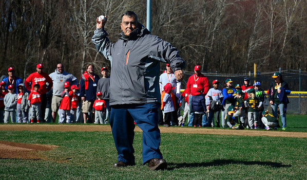 4/25/2015 Mike Orazzi | Staff Al D'Amato tosses out the first pitch during opening ceremonies at the Edgewood Little League in Bristol Saturday morning.