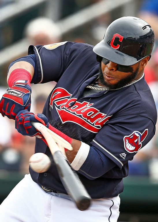 . Cleveland Indians\' Carlos Santana breaks his bat on a swing against the Colorado Rockies during the first inning of a spring training baseball game Friday, March 3, 2017, in Goodyear, Ariz. (AP Photo/Ross D. Franklin)