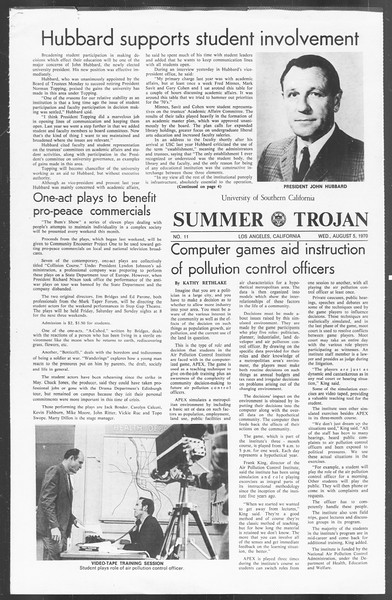 Summer Trojan, Vol. 62, No. 11, August 05, 1970