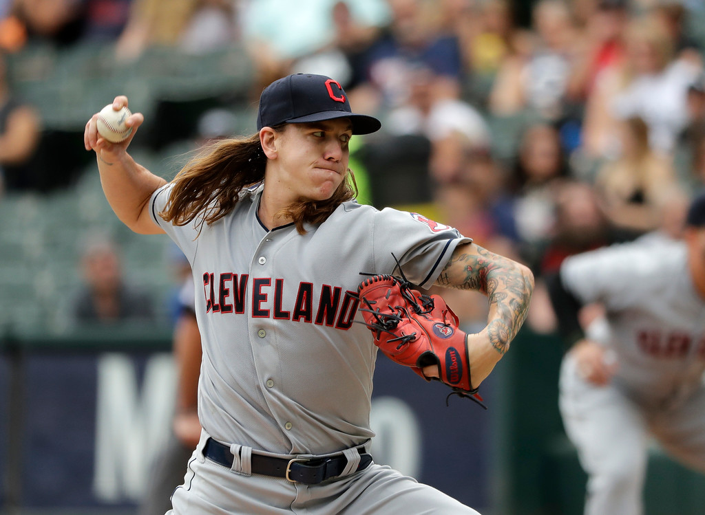 . Cleveland Indians starting pitcher Mike Clevinger delivers during the first inning of a baseball game against the Chicago White Sox Thursday, June 14, 2018, in Chicago. (AP Photo/Charles Rex Arbogast)
