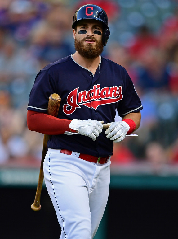 . Cleveland Indians\' Eric Haase walks to the dugout after striking out in the eighth inning of a baseball game against the Tampa Bay Rays, Sunday, Sept. 2, 2018, in Cleveland. (AP Photo/David Dermer)