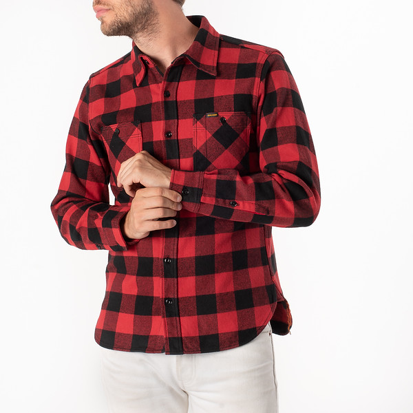 Ultra Heavy Flannel Buffalo Check Work Shirt - Red-Black-6917.jpg