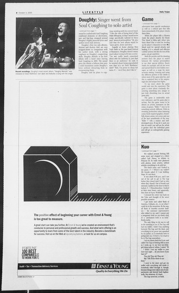 Daily Trojan, Vol. 156, No. 29, October 03, 2005