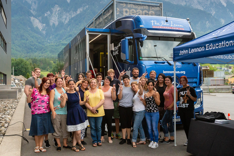 2018_07_10, Bus, Exterior, LI, Neutrik Tours, Peace Signs, Schaan, Tents