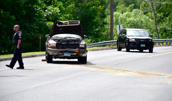 8/27/2019 Mike Orazzi | Staff The scene of a two vehicle crash at the intersection of Clark Avenue and Terryville Road in Bristol on Tuesday afternoon. One was transported from the scene with what were reported as minor injuries. The road was also closed for a short time.