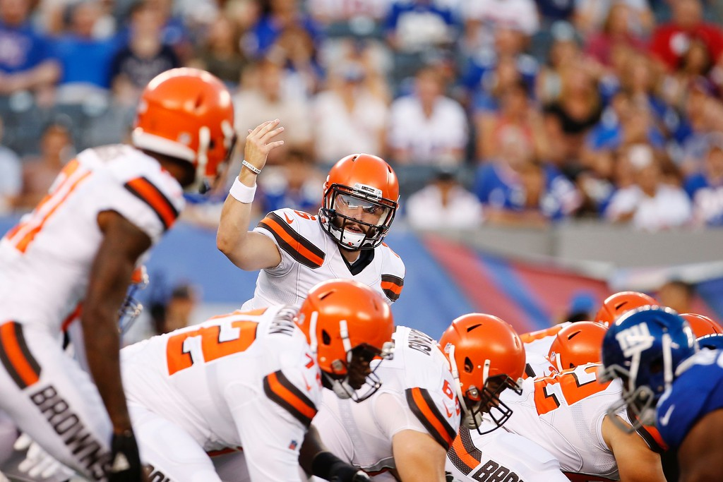 . Cleveland Browns quarterback Baker Mayfield (6) gestures to teammates during the first half of a preseason NFL football game against the New York Giants, Thursday, Aug. 9, 2018, in East Rutherford, N.J. (AP Photo/Adam Hunger)