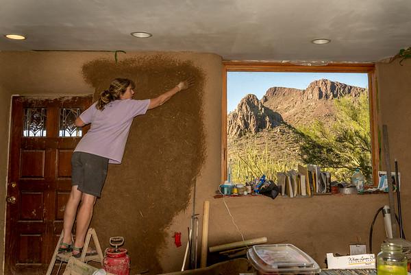Earthen Plaster on Inside Walls