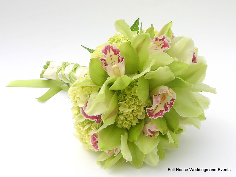 Bouquet - Green Mini Hydrangeas & Green Cymbidium Orchids