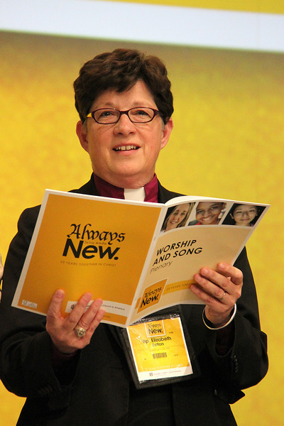 The Rev. Elizabeth A. Eaton, bishop-elect, sings during the Assembly.