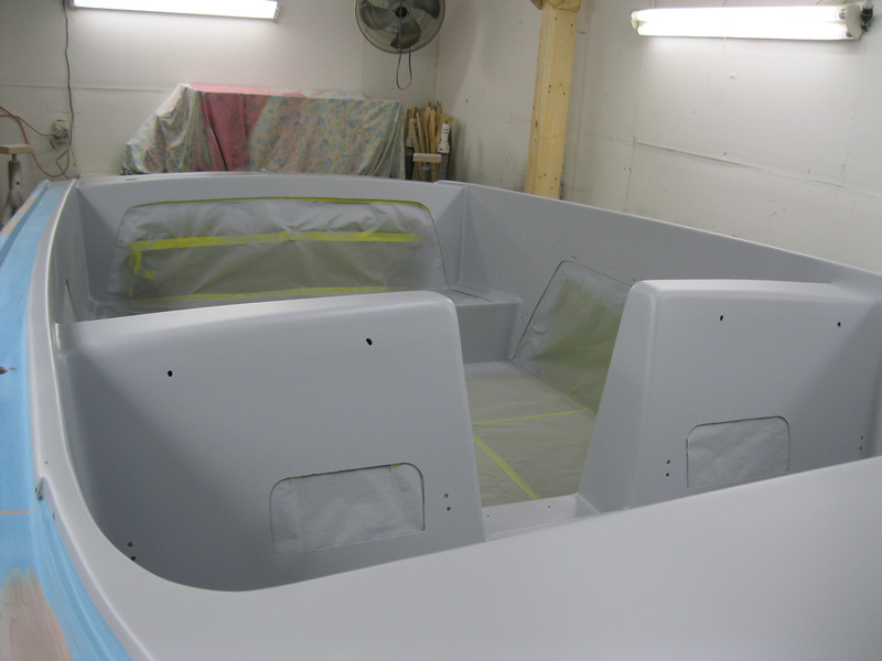 Rear looking view of inside with primer applied.