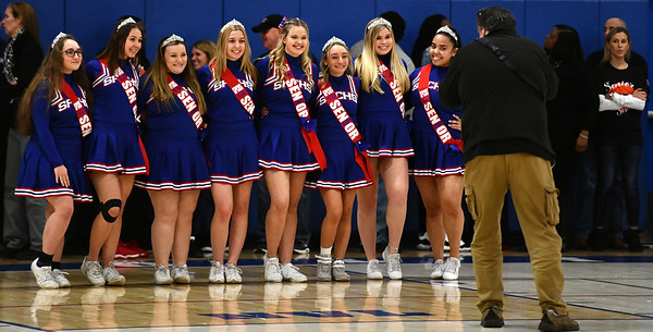 2/19/2020 Mike Orazzi | StaffrSenior cheerleaders at St. Paul Catholic High School before the last regular season boys basketball game with Litchfield High School in Bristol.