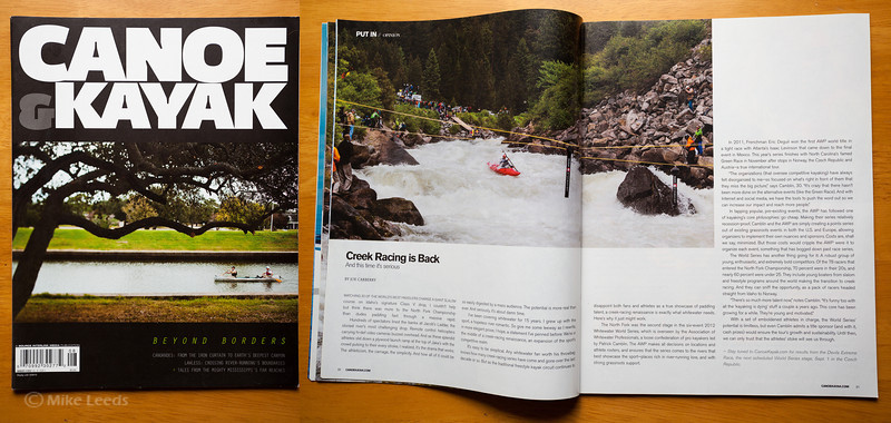 (photo right) Ryan Lucas making the move at Rock Drop in Jacob's Ladder during the North Fork Championship in Idaho, 2012. Canoe & Kayak Magazine August 2012