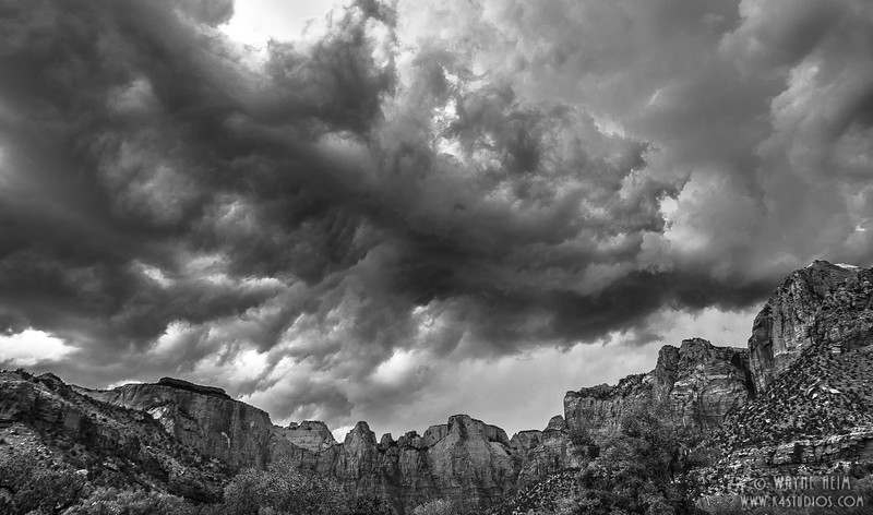 Canyon Clouds - Black  & White Photography by Wayne Heinm