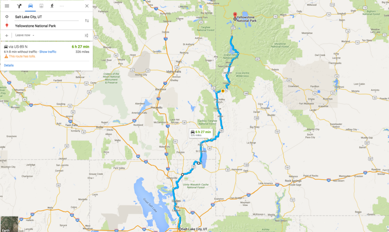 salt lake city to yellowstone scenic route