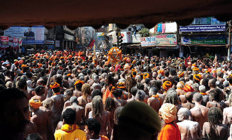 . Naga sadhus - Hindu holy men - take out a religious procession to offer holy water from the Ganga river at the Kashi Vishwanath Temple in Varanasi on March 10, 2013 on the occasion of Maha Shivaratri and the last day of the Kumbh. The festival of Maha Shivaratri is marked by Hindus through fasting and offering prayers in a night long vigil.  Sanjay Kanojia/AFP/Getty Images