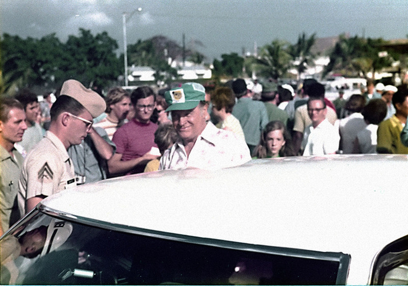 Bob Hope departs after show at the open air theater near the base commissary.