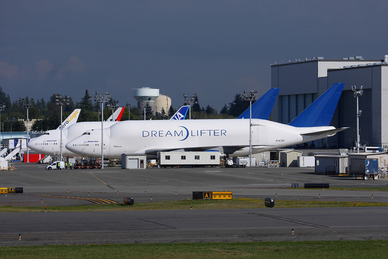 Boeing Tour - 747 Dream Lifter used to haul Dream Liner parts