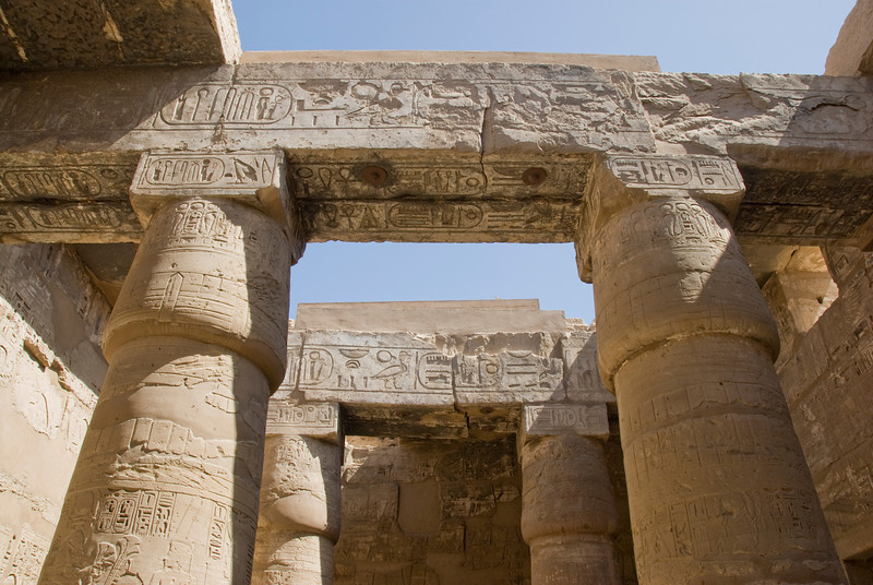 Heiroglyphics on pillars at the Karnak Temple - Luxor, Egypt