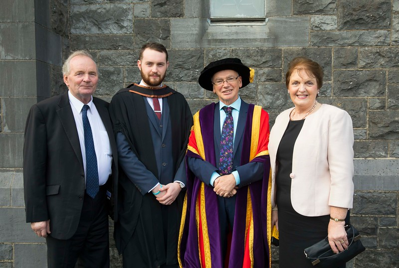 03/11/2016. Waterford Institute of Technology (WIT) Conferring Ceremonies November 2016:  Pictured are Joseph Dolan from Glenamaddy, Co. Galway who graduated BA (Hons) in Criminal Justice Studies, also pictured are his parents Tom and Kathleen with Prof. Willie Donnelly, President of WIT. Picture: Patrick Browne