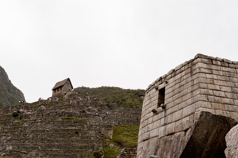 Machu Picchu Temple of the Sun with Guardhouse on the hill