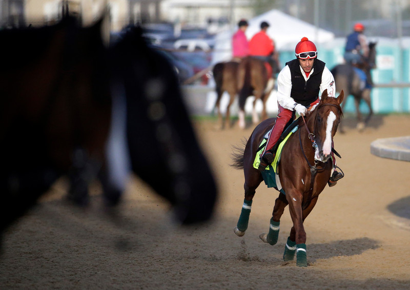 . Exercise rider William Delgado takes Kentucky Derby entrant California Chrome for a morning workout at Churchill Downs Thursday, May 1, 2014, in Louisville, Ky. (AP Photo/Morry Gash)