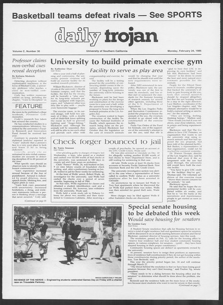Daily Trojan, Vol. 100, No. 30, February 24, 1986