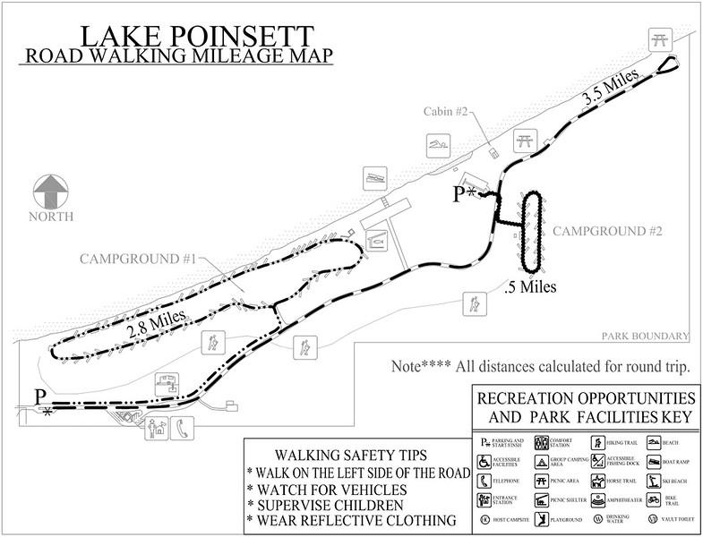 Lake Poinsett Recreation Area (Road Walking Map)
