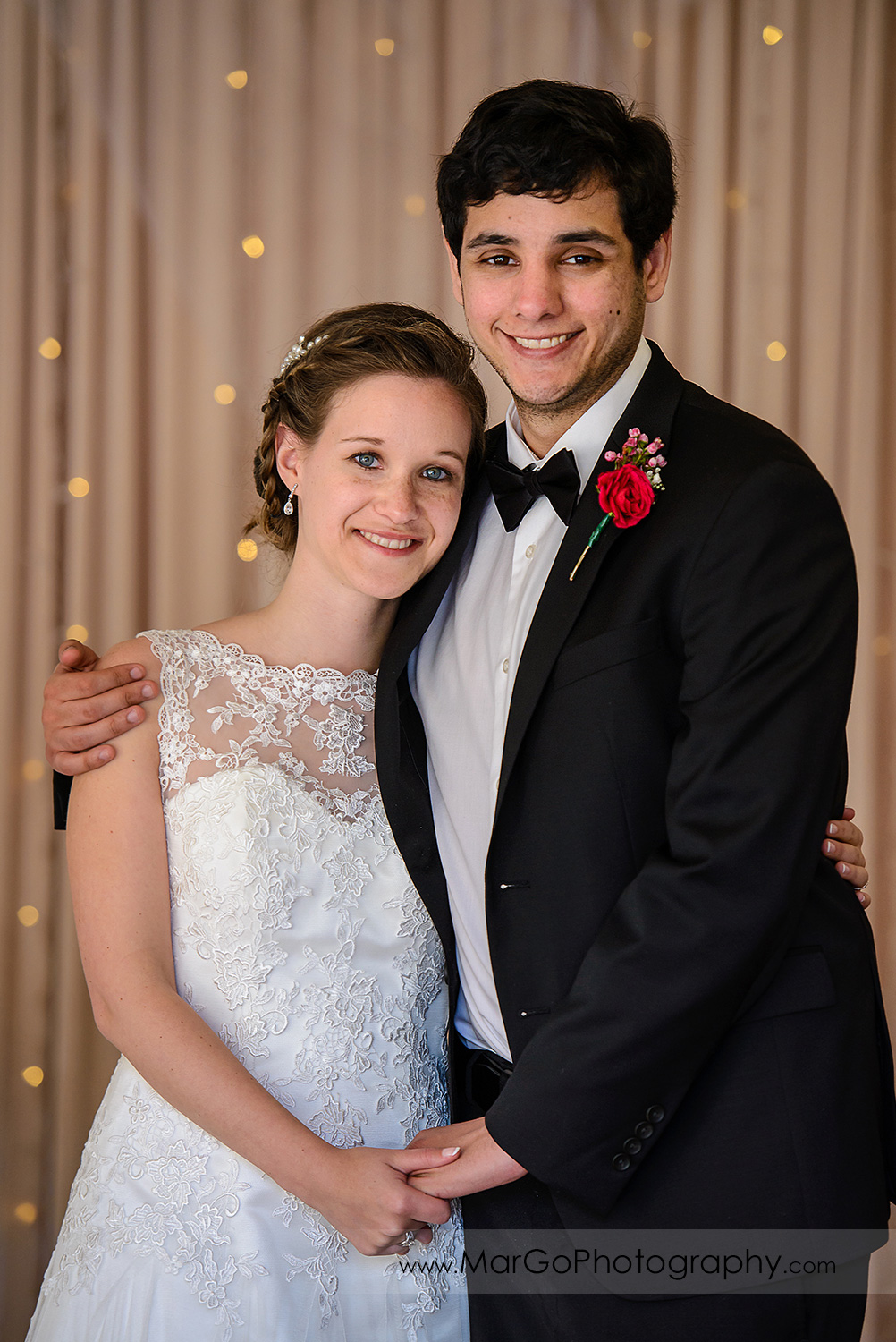 portrait of bride and groom at wedding reception at Fremont Century House & Gardens