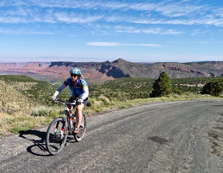 Last climb of the trip! Climbing out of Castle Valley before dropping into Moab.