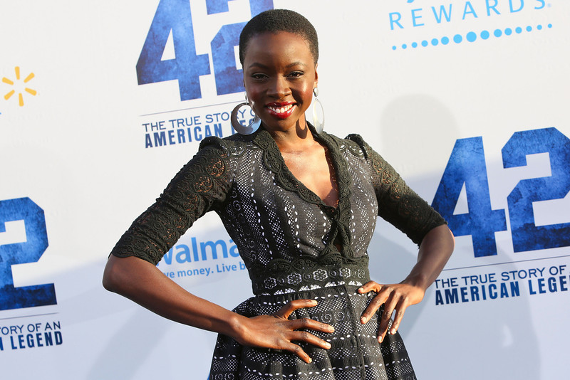 . Actress  Danai Gurira attends the premiere of Warner Bros. Pictures\' And Legendary Pictures\' \'42\' at TCL Chinese Theatre on April 9, 2013 in Hollywood, California.  (Photo by Imeh Akpanudosen/Getty Images)