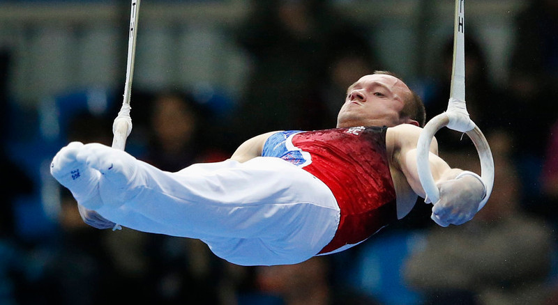 . France\'s Danny Pinheiro-Rodrigues competes on the rings during the men\'s apparatus finals at the European Men\'s and Women\'s Artistic Gymnastic individual Championships in Moscow April 20, 2013.  REUTERS/Grigory Dukor