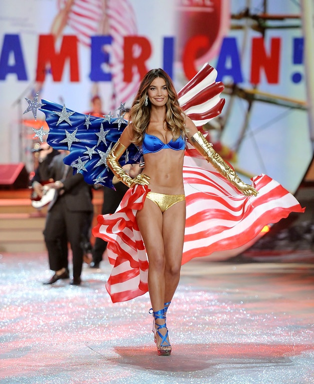 . Model Lily Aldridge walks the runway during the 2012 Victoria\'s Secret Fashion Show on Wednesday Nov. 7, 2012 in New York. The show will be Broadcast on Tuesday, Dec. 4 (10:00 PM, ET/PT) on CBS. (Photo by Evan Agostini/Invision/AP)