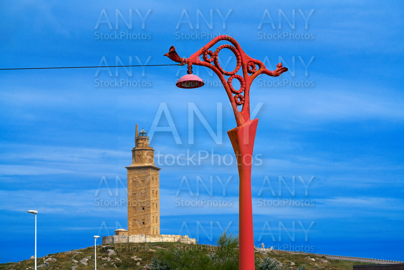 La Coruna red streetlights and Hercules tower Galicia