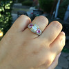 2.18ct Radiant Cut Diamond and Pink sapphire 3-Stone Ring by DBL GIA W-X, VS2 16