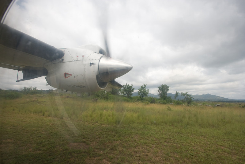 Taking off from the airstrip at the Lope Hotel.