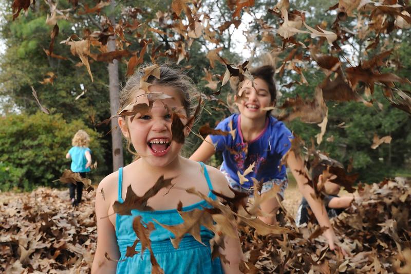 A big pile of leaves + six kids = pure fun!