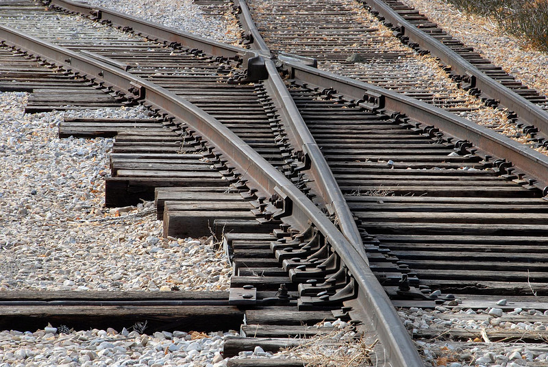 11/8/07 – When there isn't much color I look for textures. This shot of some rail tracks fit the bill.