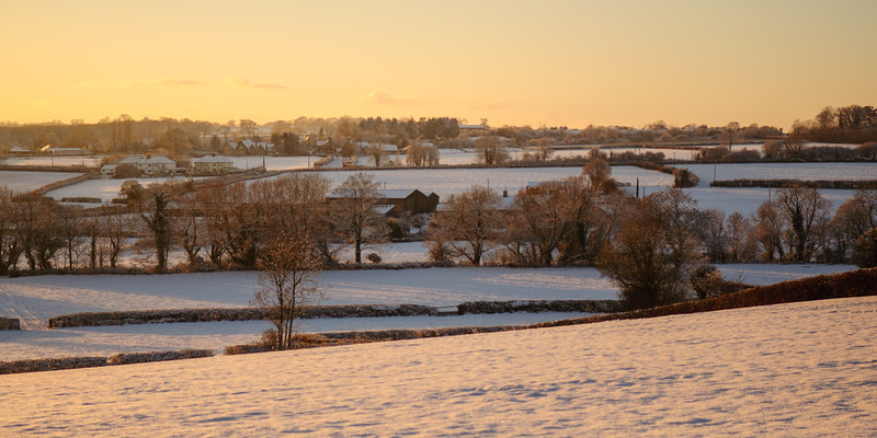 Snow-covered fields and woodland