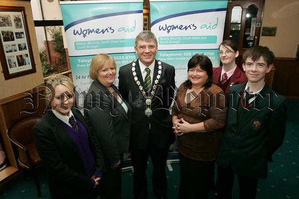 Pictured at the Heading for Healthy Relationships Schools Programme are Lisa Sinclair From St Mark's Warrenpoint, Patricia Lewsley the Commissioner for Children and Young People, Mayor Michael Carr, Eileen Murphy Newry Women's Aid, Laura Markey, St Mary's H.S. and Conor Finnegan St Joseph's H.S. Newry. 07W13N33