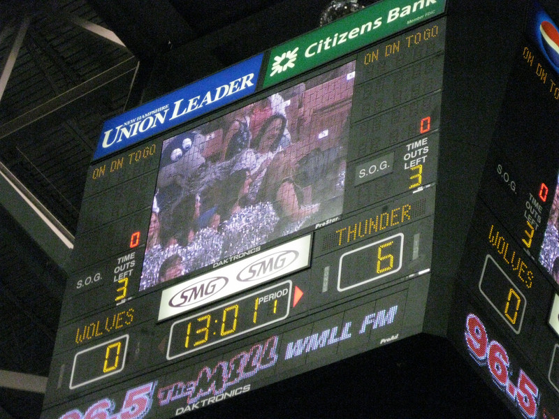A promotion shown on the video board.