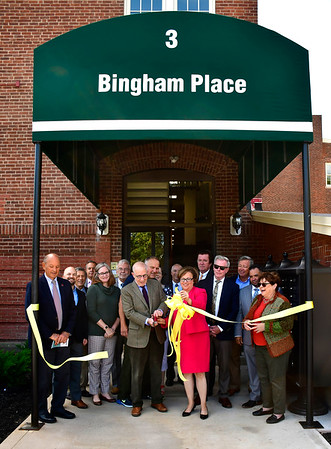 9/18/2019 Mike Orazzi | Staff The ribbon cutting to open Bingham Place in Bristol on Wednesday morning.