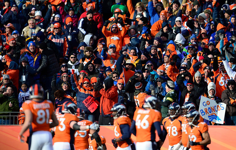 . Broncos fans cheer after Denver Broncos wide receiver Trindon Holliday (11) scores a touchdown in the first quarter. The Denver Broncos vs Baltimore Ravens AFC Divisional playoff game at Sports Authority Field Saturday January 12, 2013. (Photo by AAron  Ontiveroz,/The Denver Post)