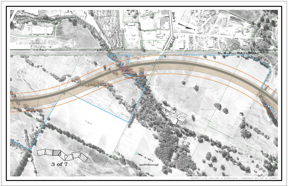 Description of . Bypass as it comes near Shell Lane. CalTrans drawing of Willits bypass project.
